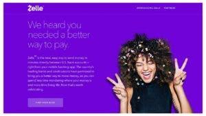 Screenshot of the Zelle website