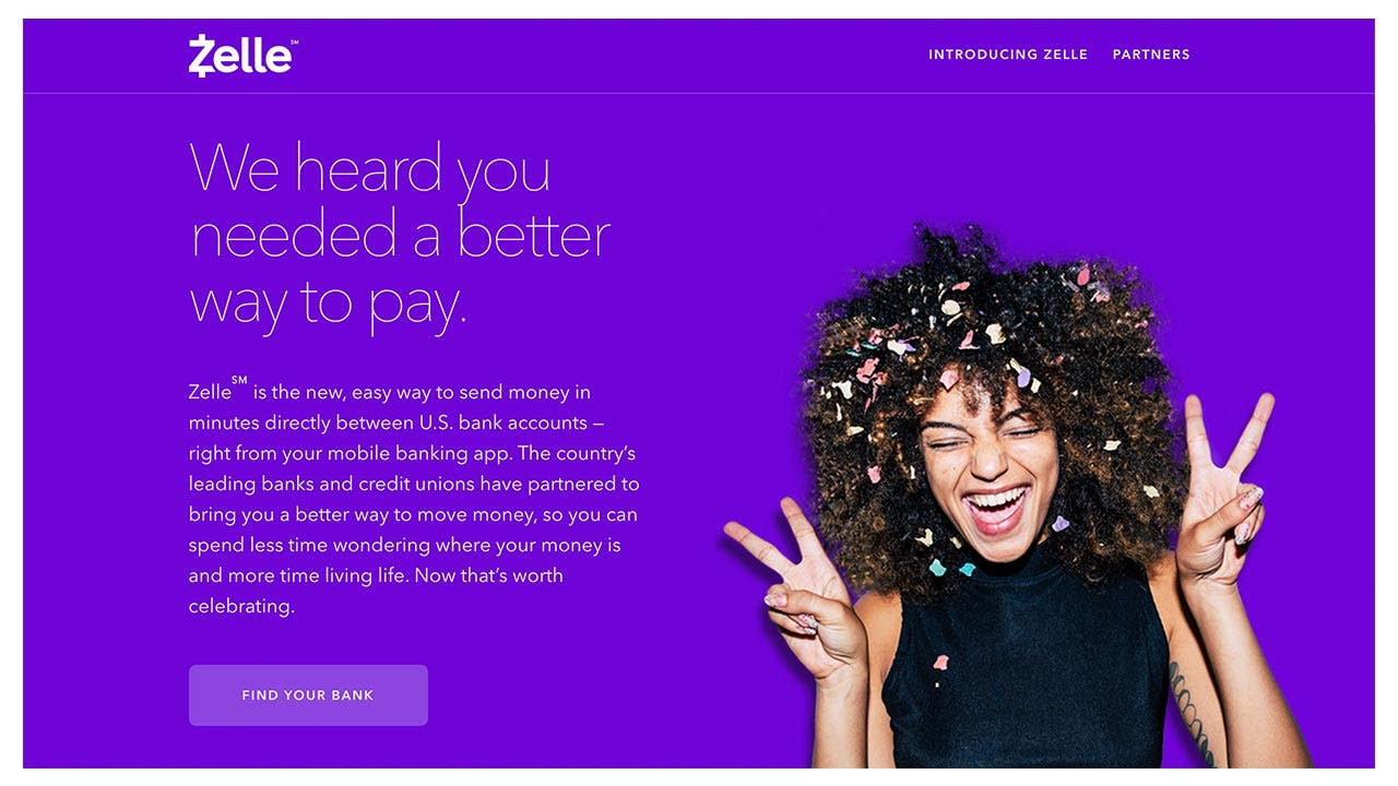 Screenshot of the Zelle website