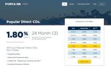 Screenshot of the Popular Direct website