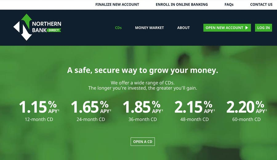 Screen shot of Northern Bank Direct website