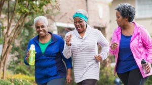 Three women going for a light jog