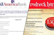 Screen shot of Redneck Bank and All America Bank websites