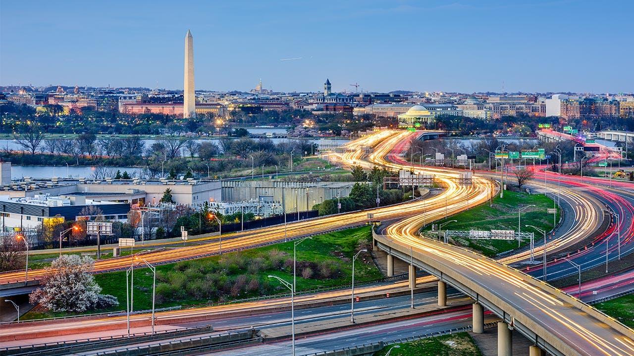 Washington skyline featuring Washington Monument