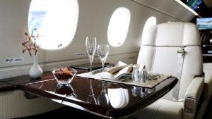 On board a private jet