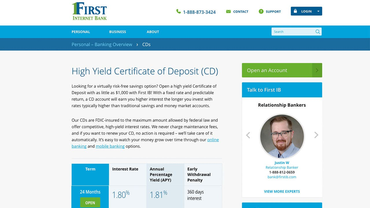 First Internet Bank of Indiana raises its 2-year CD rate