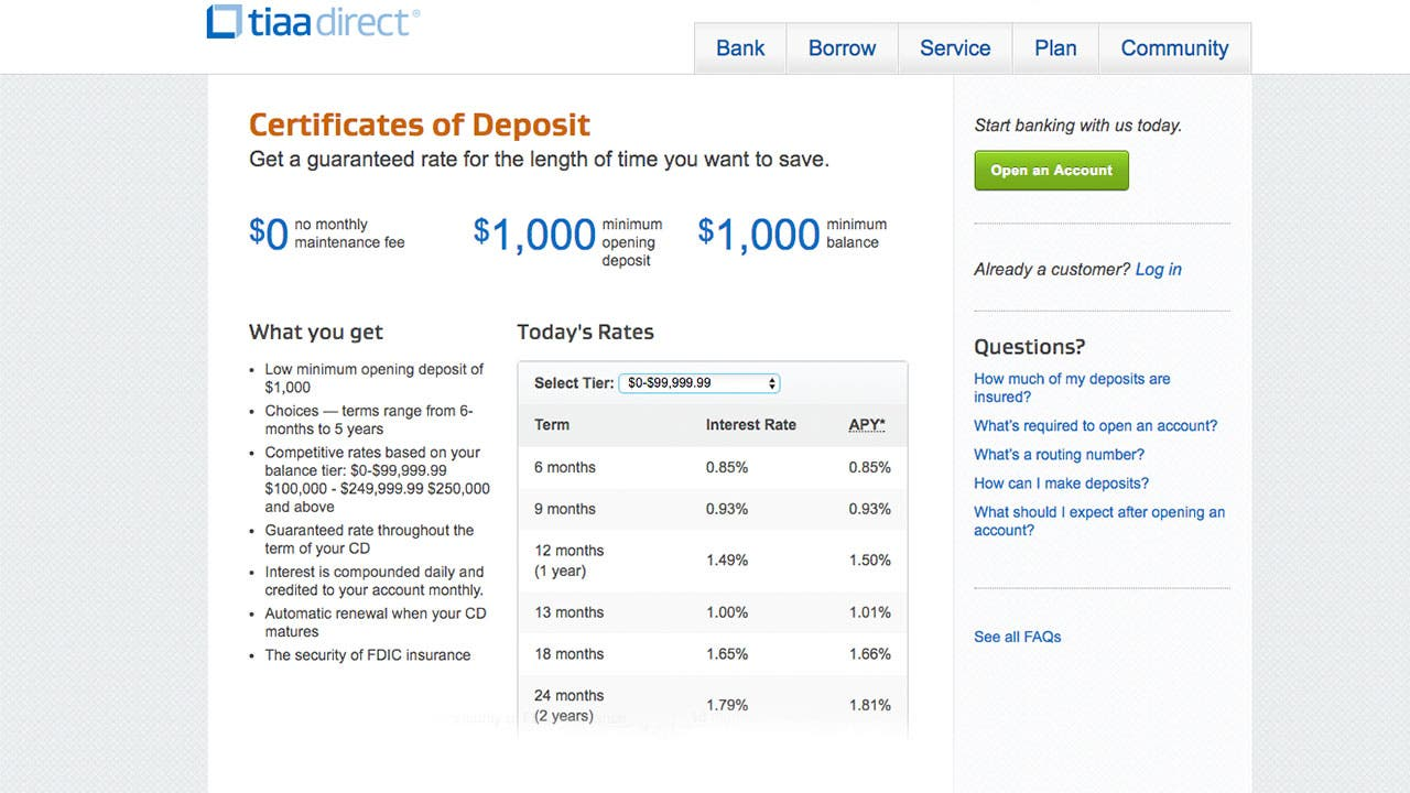 TIAA Direct deposit rates page