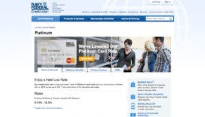 Screenshot of the Navy Federal Credit Union website
