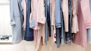 Rack of pink clothes