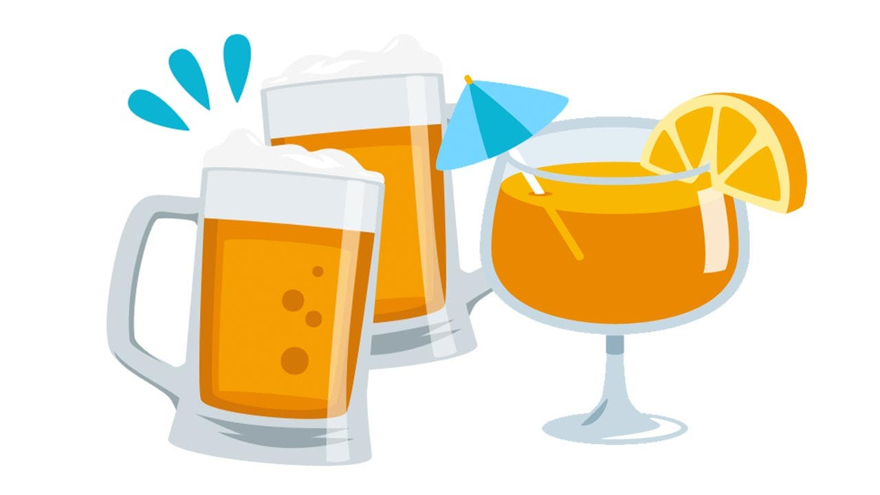 Emojis of beer and a cocktail