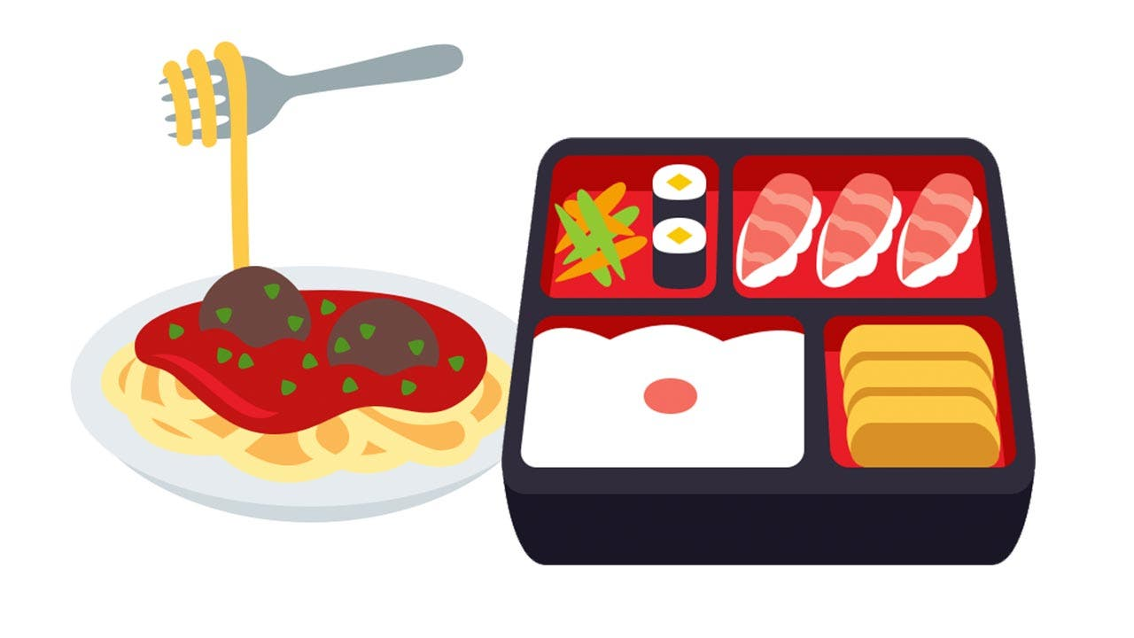 Emojis of spaghetti and Japanese food