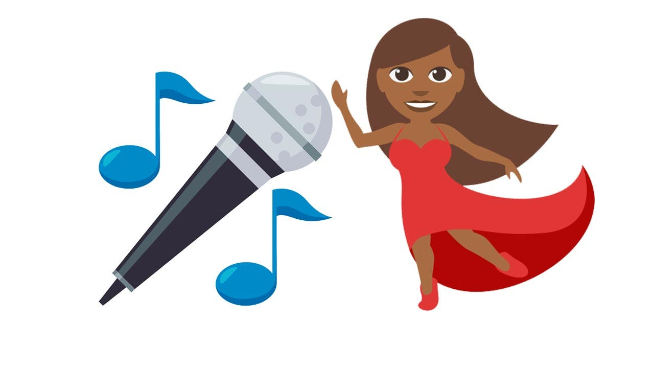 Emojis of singer and microphone