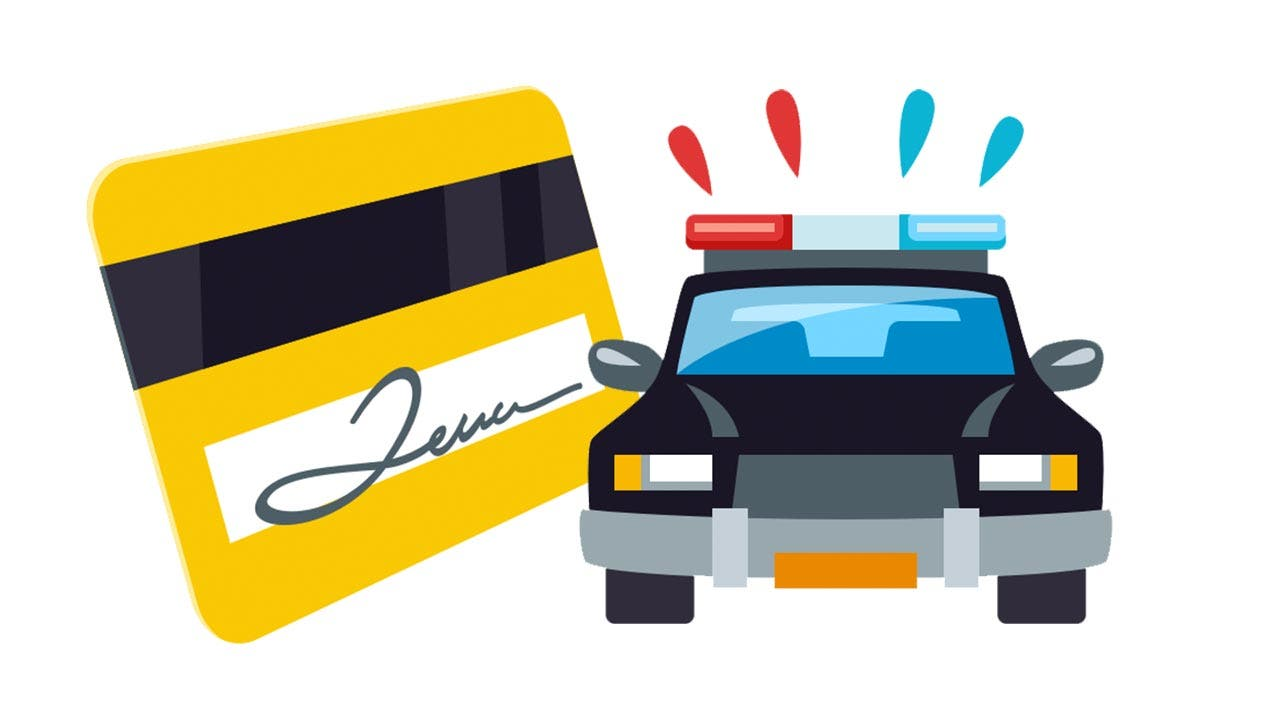 Emojis of credit card and police car
