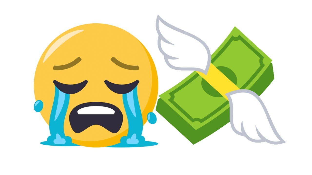 Emojis of crying face and cash with wings