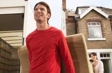Young couple moving sofa to their new home  © bikeriderlondon/Shutterstock.com