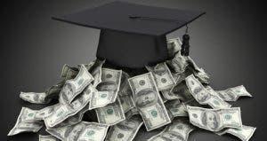 Graduation cap on top of pile of money