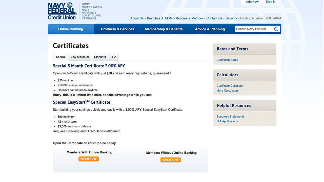 big deal this 5 month cd pays a whopping 3%screenshot of navy federal credit union cd rate page