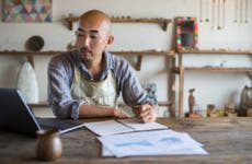 Small business owner budgeting