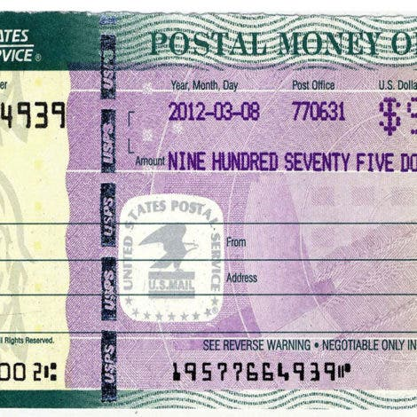 postal money order number
