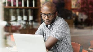 Man sending money online
