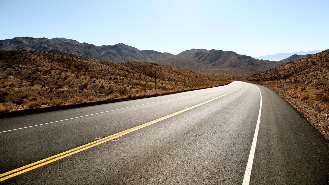 An open road in the desert