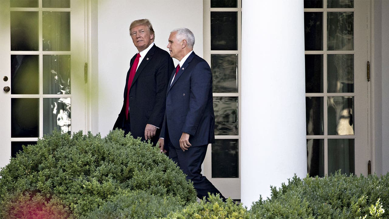 President Donald Trump and Vice President Mike Pence, in the White House Rose Garden