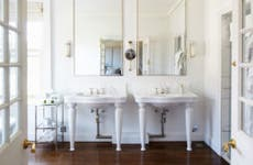 Remodeled bathroom with two sinks
