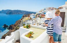 Couple traveling in Greece