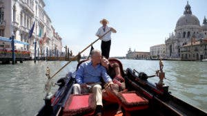Couple on gondola ride in Venice