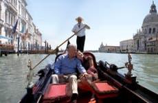 Couple on gondola ride in Venice
