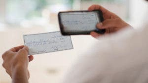 Mobile banking with a check