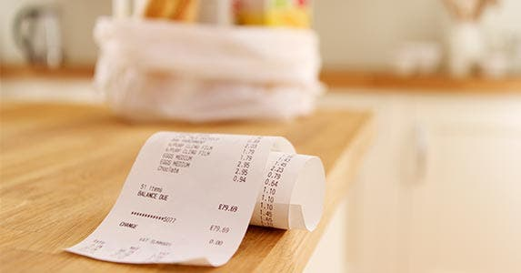 Receipt laying on a table