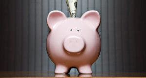 Piggy bank with $5 bill © Kinetic Imagery/Shutterstock.com