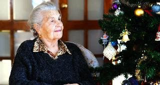 Grandmother sitting at Christmas tree © dbdavidova/Shutterstock.com