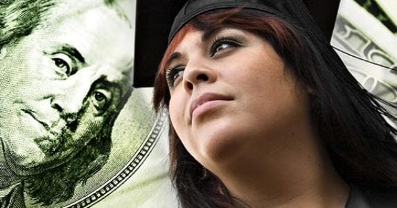 Female college graduate, $100 bill in background © TheSupe87 - Fotolia.com