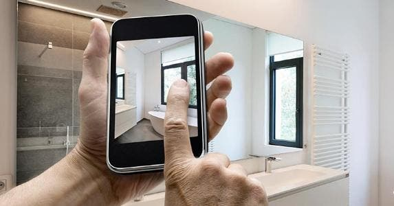 iPhone app helping with bathroom remodel © iStock