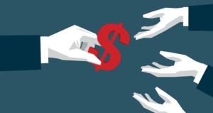 Handing dollar sign to others; P2P lending concept | Erhui1979/DigitalVision Vectors/Getty Images