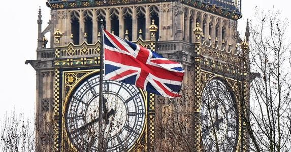 Union Jack flag in front of Big Ben | Barcroft Media/Getty Images