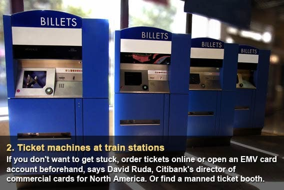 Ticket machines at train stations