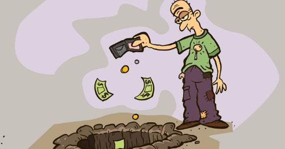 Cartoon man dumping wallet contents into hole © iStock