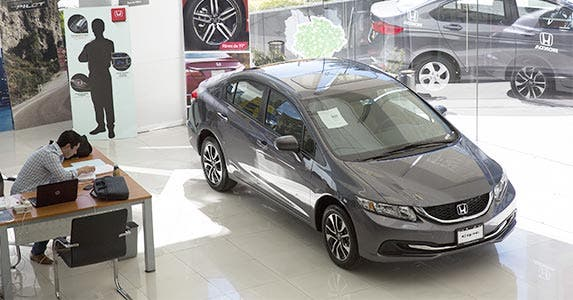 Honda Civic inside a car dealership