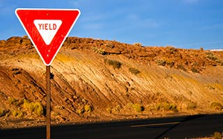 Yield sign on a desert road © Nickolay Stanev/Shutterstock.com