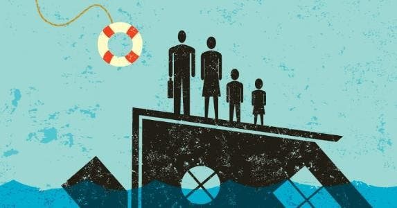 Illustrated family standing on house going underwater | iStock.com/retrorocket