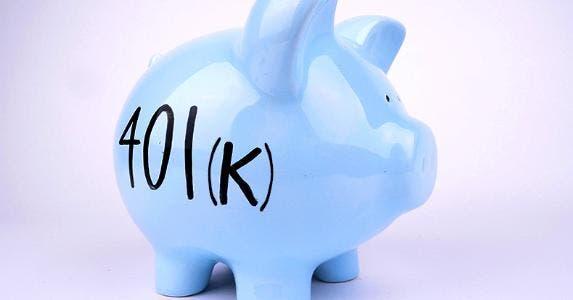 '401(k)' written on piggy bank © iStock