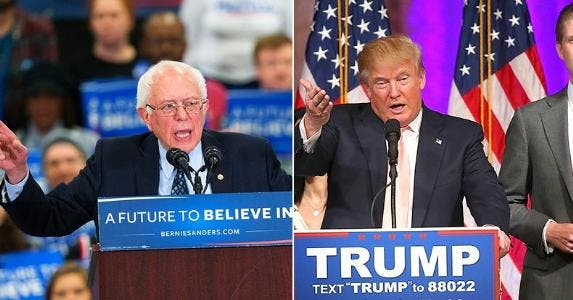 Bernie Sanders and Donald Trump | Scott Olson/Getty Images; Win McNamee/Getty Images