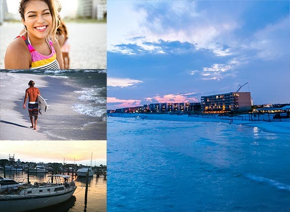 No. 7: Fort Walton Beach, Florida   Jordan Al-Sadi / EyeEm/GettyImages, garywg/E+/Getty Images, franckreporter/E+/Getty Images, ©digidreamgrafix/Shutterstock.com
