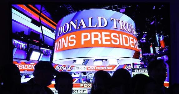 'Donald Trump wins presidency' ticker | Mark Wilson/Getty Images