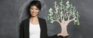 Happy woman in fron tof chalk money tree drawing © Stuart Jenner/Shutterstock.com