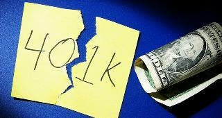 401k written on ripped Post-it note © zimmytws/Shutterstock.com