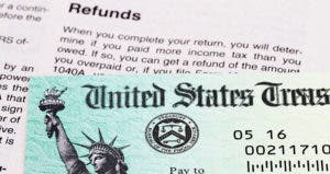 Tax refund check from the United States Treasury
