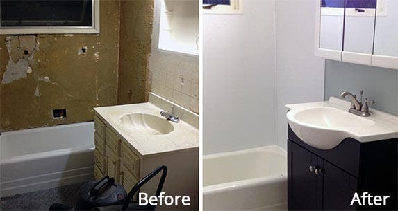 Michelle and Justin's bathroom before and after renovation | Photo courtesy of Michelle Arnold
